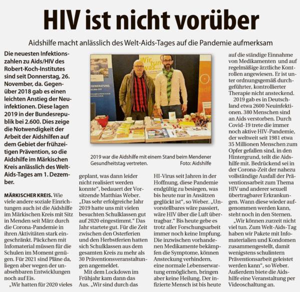 Artikel im Stadtspiegel Iserlohn vom 28.11.2020