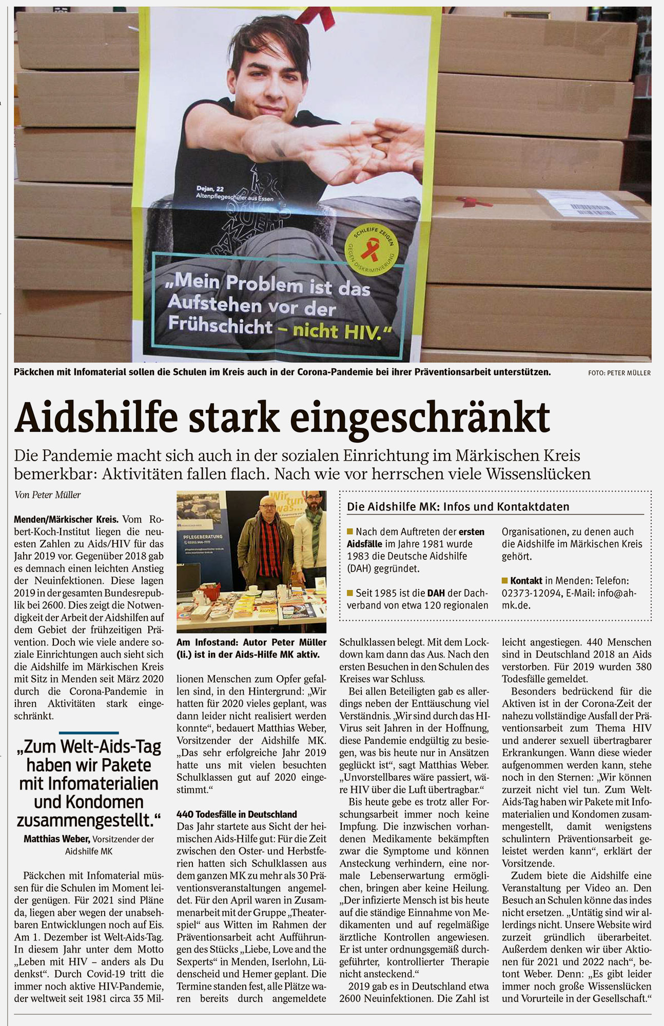 Artikel in der Westfalenpost Menden vom 01.12.2020