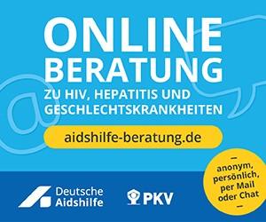 Hinweis auf die Online-Beratung der Deutschen AIDS-Hilfe unter www.aidshilfe-beratung.de
