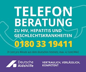 Hinweis auf die Telefon-Beratung der Deutschen AIDS-Hilfe unter 0180 33 19411