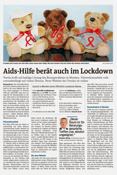 Artikel in der Westfalenpost vom 13.03.2021