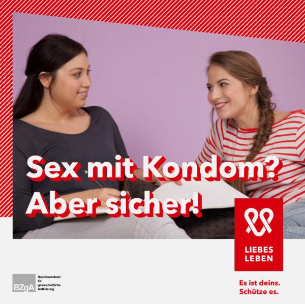"""Die Titelseite der Broschüre """"Sex mit Kondom? Aber sicher!"""""""