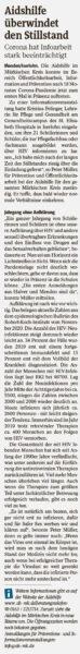 Zeitungsartikel in der Westfalenpost Menden vom 25.08.2021
